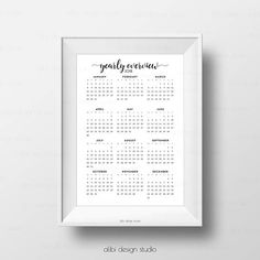 Yearly Overview 2018 A5 Planner Inserts A4 Printable 2018