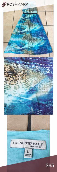 Blue Multi Animal Printed Dress Large Dresses