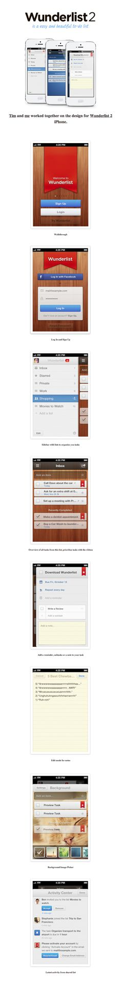 Wunderlist 2 for iPhone by Benjamin Rösner, via Behance *** Wunderlist is a beautiful and easy to use to-do app. It's available for iPhone, Android, Mac and Windows.