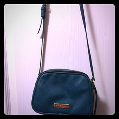 Steve Madden Bag/blue green Small shoulder bag. Blue/Green with 2 sides. Gold plated trim and good condition. Approx 8 inches across and 7 inches deep for each pocket. Zipper on the opposite side of the purse. Steve Madden Bags