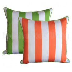 Stripe Cushion - Lime Green and Orange Outdoor Cushion Covers, Outdoor Cushions, Striped Cushions, Cushions Online, Relaxing Places, Outdoor Rooms, Green Stripes, Green And Orange, Lime