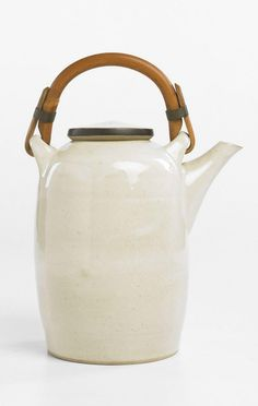 Lucie Rie; Glazed Stoneware and Bamboo Teapot, c1960.