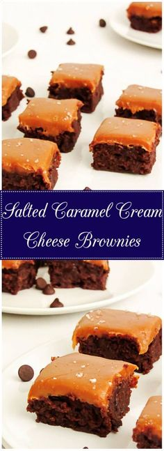 Salted Caramel Cream Cheese Brownies are rich, studded with chocolate chips, covered with a layer of caramel, and sprinkled with sea salt. via @berlyskitchen