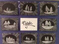 Melanie Lupien Art Class: 4th Grade art lesson project. winter art. Chalk. http://thecolorfulartpalette.blogspot.com/