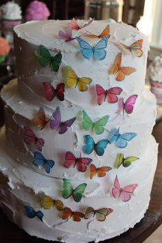 Rainbow Wedding. Edible Cake Topper 50 Rainbow Assorted by LITTLEHOPECAKES on Etsy   I would love dragonflies