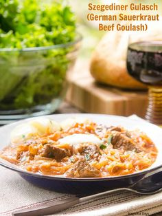 Szegendiner Gulasch (German Sauerkraut Beef Goulash) is a healthy, comforting stew flavored with paprika and served with a dollop of sour cream.