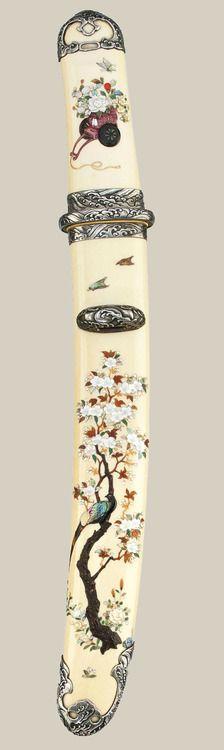 A Fine Shibayama Tanto Koshirae (knife) Meiji Period. late 19th century, Japan. Christies.
