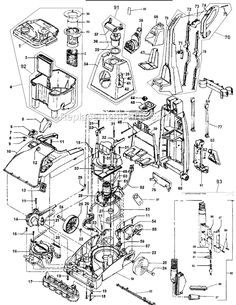 All the parts of a Rug Doctor carpet cleaning machine. For