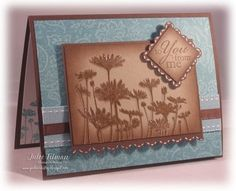 Love the chocolate & blues together. The shadow stamping really works well too. You could also do this in other colour combo's & with other small or square sentiments.