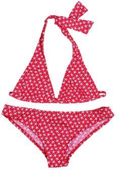 Starfish on Red Bikini for Girls Boys Swimwear, One Piece Swimwear, Red Bikini, Bikini Girls, Kids Bathing Suits, Skirts For Kids, Luxury Swimwear, Girls Swimming, Stylish Girl