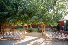 Wedding ceremony under the trees.