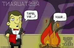 Idees vol vrees Tafel vi vuur Afrikaans, Comic Strips, Haha, The Creator, Interview, Family Guy, Jokes, Comics, Funny