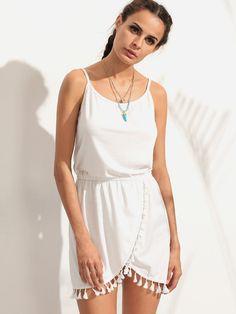 White Tassel Trim Wrap Cami Dress Office Dresses, Women's Fashion Dresses, Elegant Dresses, Boho Dress, Cami, Tassel, Rompers, Shopping, Ladies Fashion Dresses