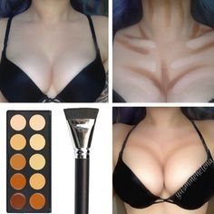 How to make your boobs look bigger with makeup; Hacks, tips and tricks on how to body contour; Body Contouring & highlighting your breasts guide; pictures of fake plastic surgery Beauty Make-up, Beauty Secrets, Beauty Hacks, Hair Beauty, Fashion Beauty, Body Makeup, Contour Makeup, Skin Makeup, Makeup Looks