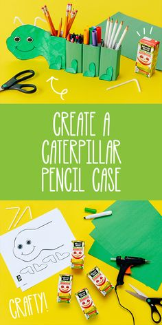 Upcycle your Minute Maid Juice Boxes by linking them together and creating a caterpillar pencil case. It's fun to make and will help keep your kids organized throughout the school year.