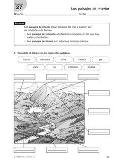 29© 2008 Santillana Educación, S. L.  Los paisajes de interior  Nombre Fecha  Refuerzo  27  1. Completa el dibujo con las sigui...