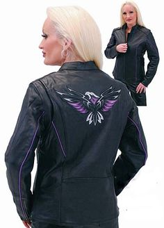 NEW! $229.99  Womens purple eagle leather motorcycle jacket with side zippers, zip out lining and matching colored piping trim. This vented eagle jacket is made of premium cowhide black leather with quality embroidered eagle on back