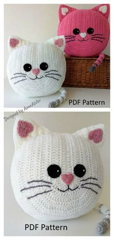 6 Fun Animal Cat Pillow Free Crochet Pattern and Paid Fun Animal Cat Cushion Crochet Pattern The Fun Animal Cat Pillow Free Crochet Pattern has adorable designs, which little ones will love cuddling up with. This would be a wonderful gift for a cat lover. Chat Crochet, Crochet Amigurumi, Crochet Toys, Free Crochet, Knitting Toys, Crochet Pillow Patterns Free, Crochet Beanie Pattern, Vest Pattern, Poncho Patterns