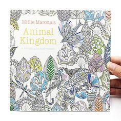 1 ADET 24 Sayfa Hayvan Krallık İngilizce Baskısı Çocuk Yetişkin Stres Rahatlatmak Için Öldür Zaman Boyama Boyama Kitabı Çizim Kitabı