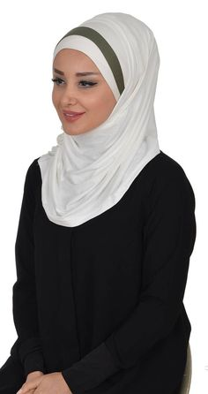 Scarf and Bonnet Set BN-8  Ivory  Army Green
