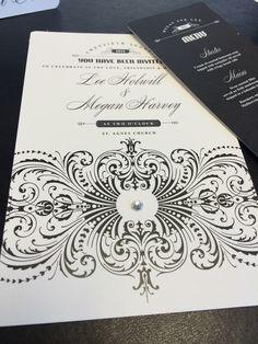 Classy b/w Damask wedding stationery