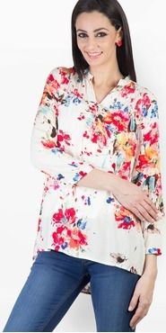 Roposo.com - Latest printed floral mandarin-collar full-sleeve tunics best for summer and vacation online pink printed tunic