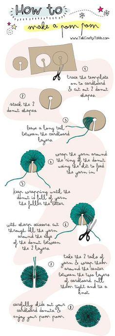 Anleitung zur Herstellung von Pompons....... Ich nehme statt der Schere ein Kutter Messer um die die Wolle zu trennen, geht einfacher als mit der Schere.