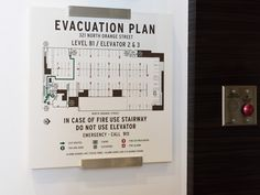 Evacuation Plan plaque, mixed media brushed aluminum and plexi-glass.