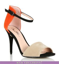 Beige/Orange High Heel   creativity and balance are key! don't wear with too many contrasting colors and wear with a dress so eyes are attracted to your legs not your feet. $24.90