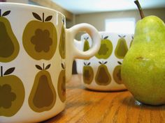 Love these vintage (I think) Orla Kiely pear mugs. Picture from Flickr. #mugs #pears
