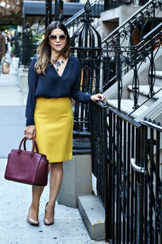 Corporate Catwalk - Fashion Blog: Golden Girl :: J Crew Pencil Skirt & Michael Kors Selma