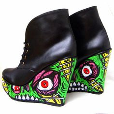 The Zombies! Lace Up Platform Booties Shoes - Zombie Girl, Horror, Monster Style - Custom Painted - One of a kind!