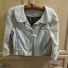 Selling this Tan seersucker jacket in my Poshmark closet! My username is: baysidelu. #shopmycloset #poshmark #fashion #shopping #style #forsale #in mode #Jackets & Blazers