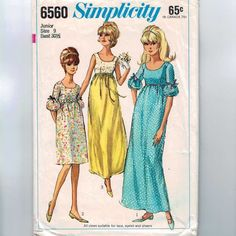 sewing patterns from the1960s | 1960s Vintage Sewing Pattern Simplicity 6560 High Waist Empire Dress ...