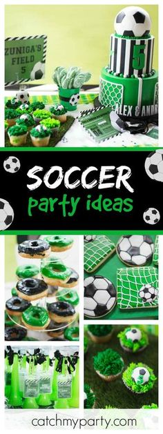Check out this awesome Soccer birthday party for twins. The cupcakes are so much. Check out this awesome Soccer birthday party for twins. The cupcakes are so much fun! Soccer Birthday Parties, Football Birthday, Sports Birthday, Soccer Party, Birthday Party Themes, Sports Party, Birthday Bash, Football Soccer, Birthday Ideas
