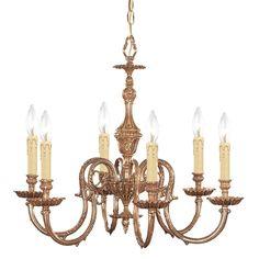 "Crystorama Lighting Group 2606 Novella 6 Light 25"" Wide Cast Brass Candle Style Olde Brass Indoor Lighting Chandeliers"