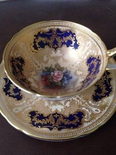 Vintage Aynsley Blue & Gold Filigree Floral Cup and Saucer 7953