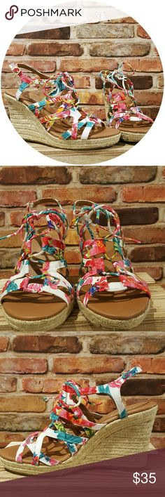 8.5 White floral lace up wedges by sugar! Size 8.5 white lace up floral honeydew wedges by sugar. Cute floral pattern and bright colors are perfect the summer time! In amazing condition, only worn once. Comes with box ♡ sugar Shoes Wedges