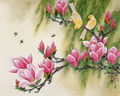 """Themes-Purples tagged Wall Murals"""" Page 7 Flor Magnolia, Magnolia Flower, Magnolia Branch, Rosa Pink, 3d Wall Murals, Flower Bird, Botanical Wall Art, China Painting, Chinese Art"""