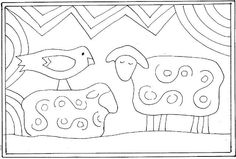 Animals, Designs in Wool, Two sheep and a bird