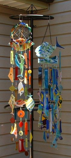 Glass Wind Chimes - Beachie We can use wire holders (I can't remember the name) to hold each piece together.