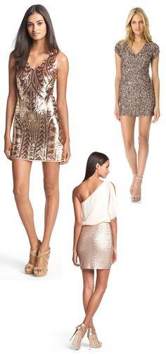 sequined glittering cocktail and bridesmaids dresses | junebugweddings.com