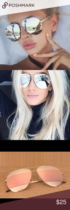 Mirrored Aviator Sunglasses Oversize mirrored aviator sunglasses, polycarbonate lens with metal frame. Lens measures 5.4cm W x 5.2cm H.  Choose Silver or Rose Gold at checkout. Listing is for 1 pair of glasses ❤❣️                                                                                                                                   PRICE IS FIRM ON ALL BOUTIQUE ITEMS           Bundle for 15% off 2+ items  Accessories Sunglasses