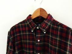 Vtg 90s tartan Ralph Lauren Oxford shirt / L / button down 90s grunge rare loose £37.00