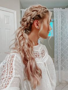 5 Boho Braids tutorial in 15 minutes Prom Ponytail Hairstyles, Prom Hairstyles For Long Hair, Dance Hairstyles, Down Hairstyles, Easy Hairstyles, Updo Hairstyle, Prom Ponytails, Hairstyles For Graduation, Simple Homecoming Hairstyles