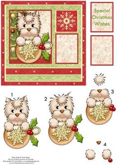 CHRISTMAS WESTIE WITH BAUBLE Card Topper Decoupage on Craftsuprint designed by Janet Briggs - Christmas card topper, with 3d step by step decoupage.Features cute little Westie dog, with Christmas bauble, in front of the Christmas tree.2 sentiment tags. 1 blank. The other reads, Special Christmas Wishes. - Now available for download!