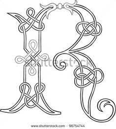 A Celtic Knot-work Capital Letter R Stylized Outline. Vector Version.