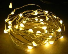 18 Fairy Light LEDs on 3-foot coated copper wire. Battery-operated lights with a timer.