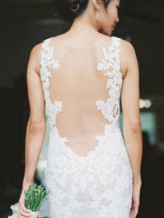 Sheer open back Watters Wtoo wedding dress: http://www.stylemepretty.com/2016/05/27/red-boho-style-ranch-wedding/   Photography: Carmen Santorelli - http://carmensantorellistudio.com/