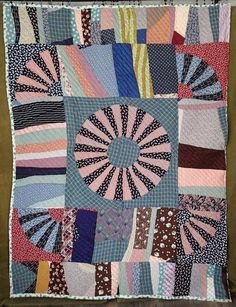 Gees Bend Style Visual Pop Art Vintage 30-50s Center Medallion Feedsack QUILT | eBay